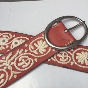 Vintage Floral Embroidered Leather Belt